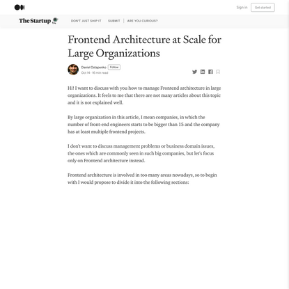 Frontend Architecture at Scale for Large Organizations