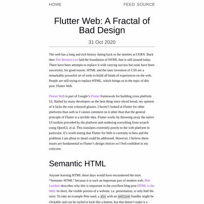 Flutter Web: A Fractal of Bad Design