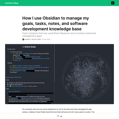 How I use Obsidian to manage my goals, tasks, notes, and software development knowledge base