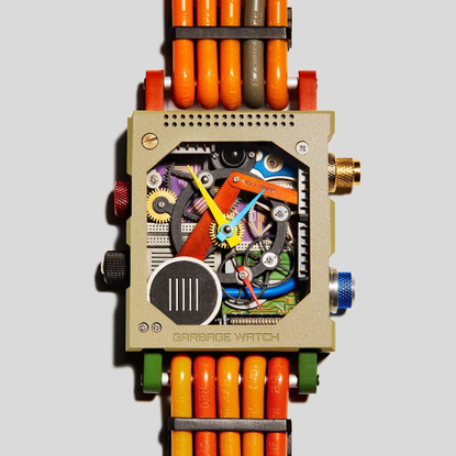 """Vollebak's Instagram profile post: """"The Garbage Watch is built from the electronic waste the world threw out in the trash. I..."""