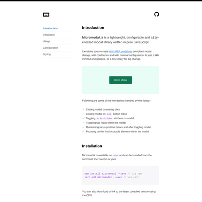 Micromodal - Tiny javascript library for creating accessible modal dialogs