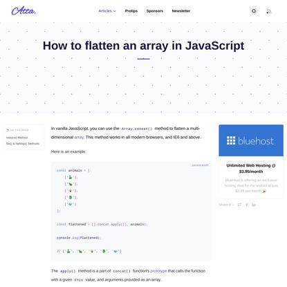 How to flatten an array in JavaScript
