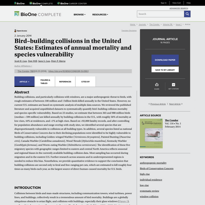 Bird–building collisions in the United States: Estimates of annual mortality and species vulnerability