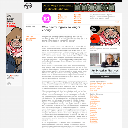 Eye Magazine | Opinion | Why a nifty logo is no longer enough