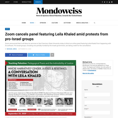 Zoom cancels panel featuring Leila Khaled amid protests from pro-Israel groups – Mondoweiss