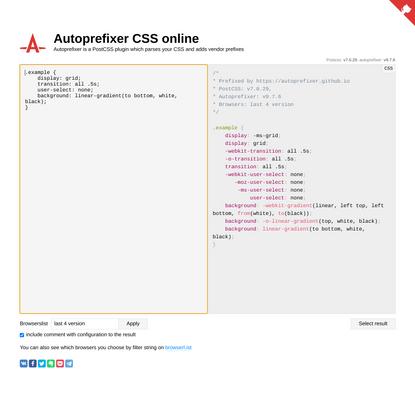 Autoprefixer CSS online