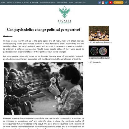 Can psychedelics change political perspective?   The Beckley Foundation