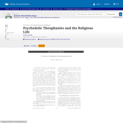 Psychedelic Theophanies and the Religious Life