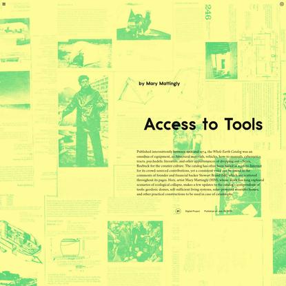 Mary Mattingly, Access to Tools