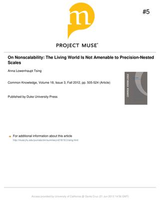 "Anna L. Tsing, ""On Non-Scalability"", 2012"