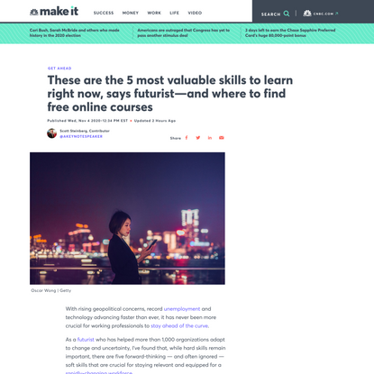These are the 5 most valuable skills to learn right now, says futurist—and where to find free online courses