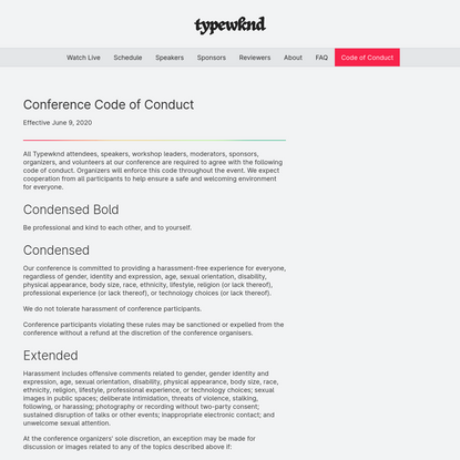 Code of Conduct - TypeWknd
