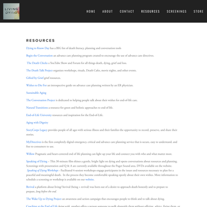 Resources — Living while Dying