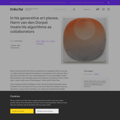 In his generative art pieces, Harm van den Dorpel treats his algorithms as collaborators