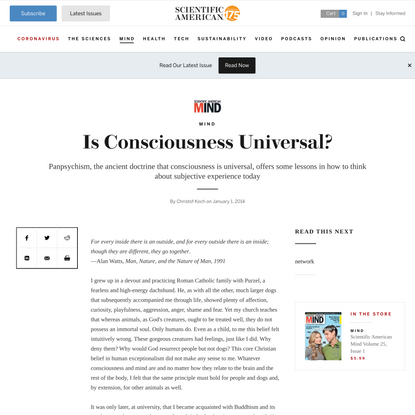 Is Consciousness Universal?