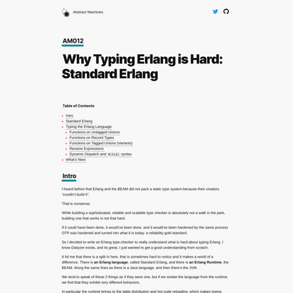 Abstract Machines | Why Typing Erlang is Hard: Standard Erlang