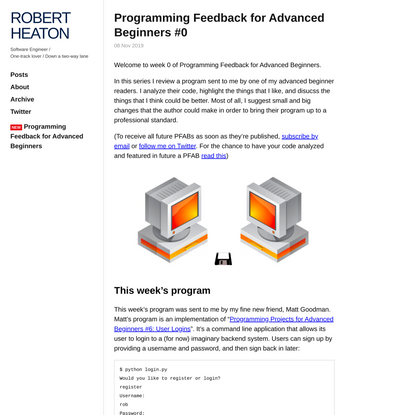 Programming Feedback for Advanced Beginners #0 | Robert Heaton
