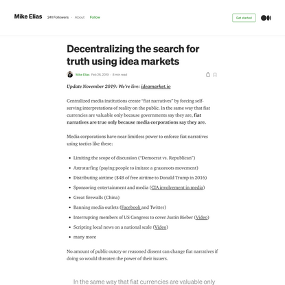 Decentralizing the search for truth using idea markets | by Mike Elias | Medium