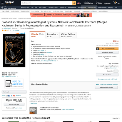 Probabilistic Reasoning in Intelligent Systems: Networks of Plausible Inference (Morgan Kaufmann Series in Representation an...