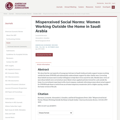 Misperceived Social Norms: Women Working Outside the Home in Saudi Arabia