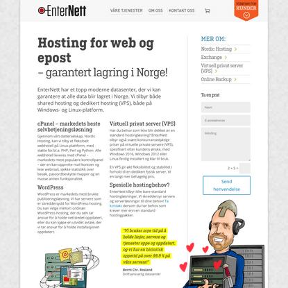 Hosting for web og epost|Enternett