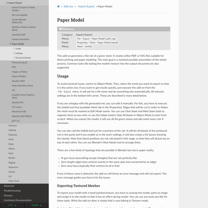Paper Model — Blender Manual