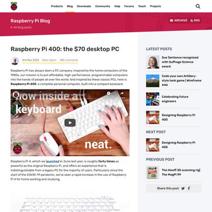 Raspberry Pi 400: the $70 desktop PC - Raspberry Pi