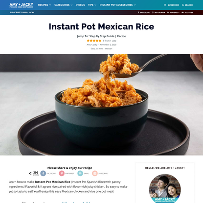 Instant Pot Mexican Chciken & Rice | Tested by Amy + Jacky