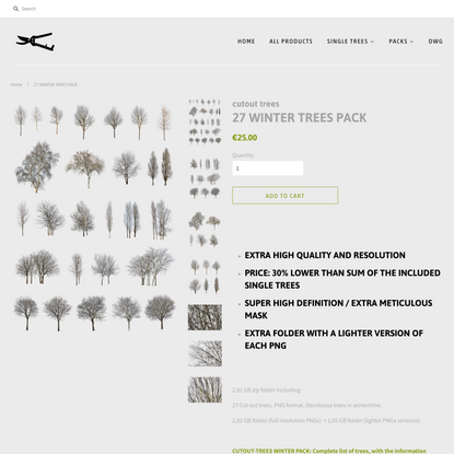 27 WINTER TREES PACK