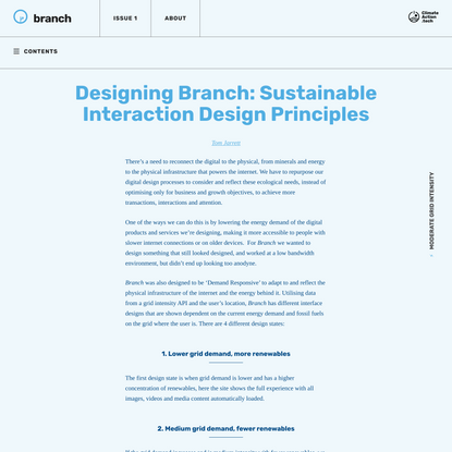 Designing Branch: Sustainable Interaction Design Principles - Branch