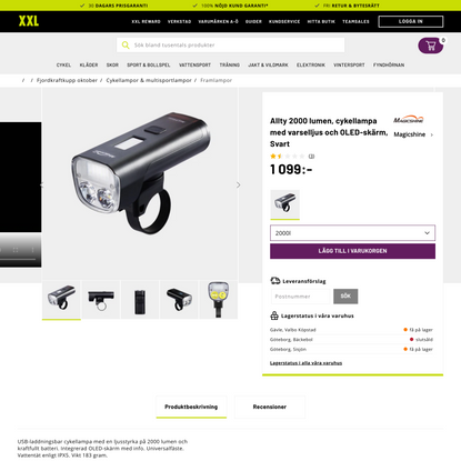 Magicshine Allty 2000 lumen, cykellampa med varselljus och OLED-skärm - Svart - Framlampor   XXL