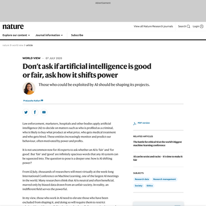 Don't ask if artificial intelligence is good or fair, ask how it shifts power