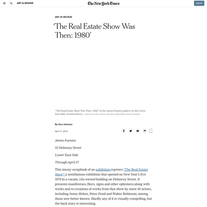 'The Real Estate Show Was Then: 1980' (Published 2014)