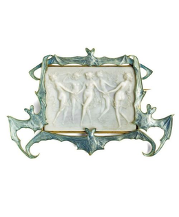 """Rene Lalique, """"Dancing Nymphs In A Frame Of Bats"""" brooch. C. 1902."""
