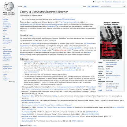 Theory of Games and Economic Behavior - Wikipedia