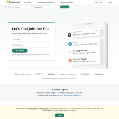 Job Search - Millions of Jobs Hiring Near You   ZipRecruiter
