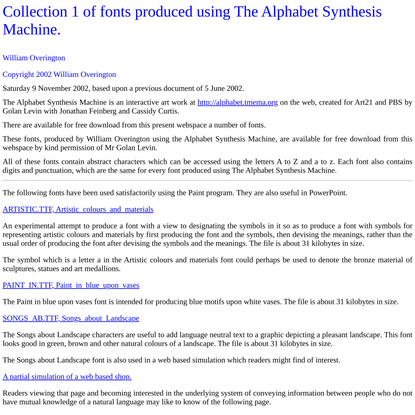 Collection 1 of fonts produced using The Alphabet Synthesis Machine.