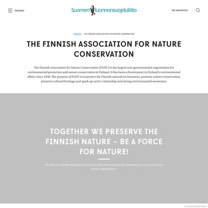 The Finnish Association for Nature Conservation – Suomen luonnonsuojeluliitto