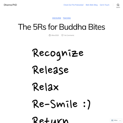 The 5Rs for Buddha Bites