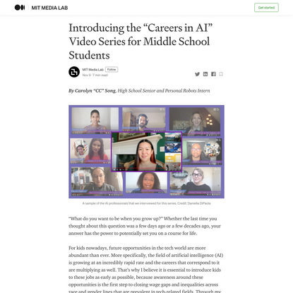 "Introducing the ""Careers in AI"" Video Series for Middle School Students"