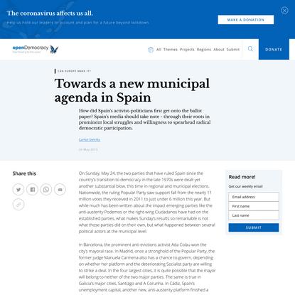 Towards a new municipal agenda in Spain
