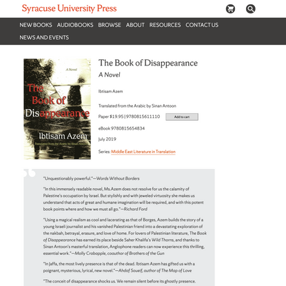 Book of Disappearance, The – Syracuse University Press