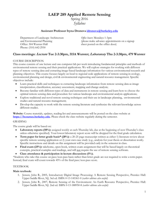 UC Berkeley LAEP 289: Applied Remote Sensing