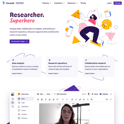 The user research platform for teams – Dovetail