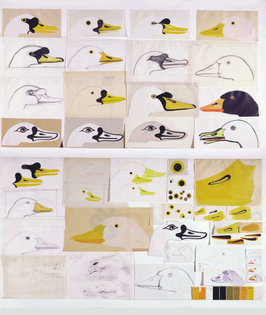 Enzo Mari, The Nature Series, preliminary sketches and variations for the goose
