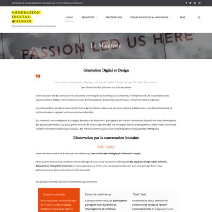 Le Manifeste - Génération Digital & Design