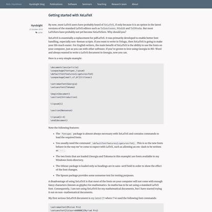 Getting started with XeLaTeX | Rob J Hyndman