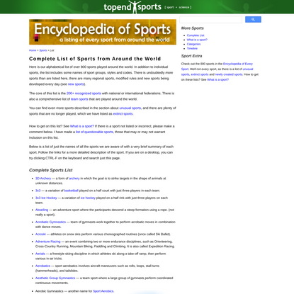 List of Sports - Every sport from around the world