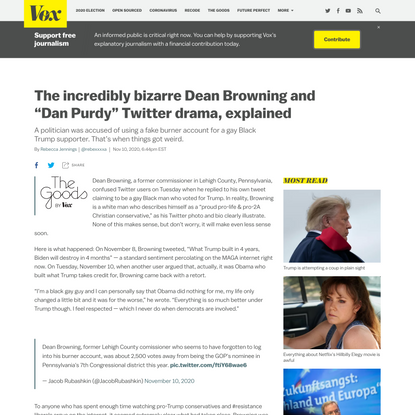 """The incredibly bizarre Dean Browning and """"Dan Purdy"""" Twitter drama, explained"""
