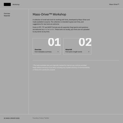 Mass-Driver™ Workshop